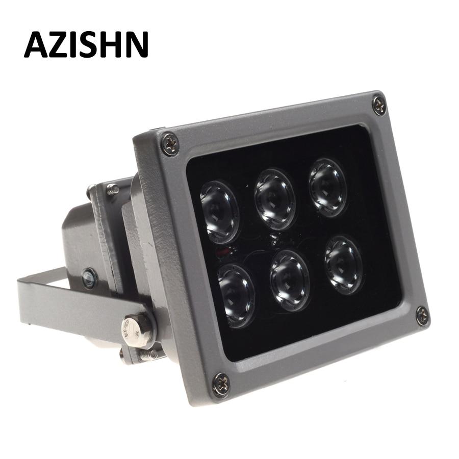Светодиодная ИК-лампа AZISHN для видеонаблюдения, уличный водонепроницаемый светильник ночного видения, 6 светодиодов