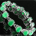 jewerly bangle >New Green JADE Link Women Bangles Bracelets