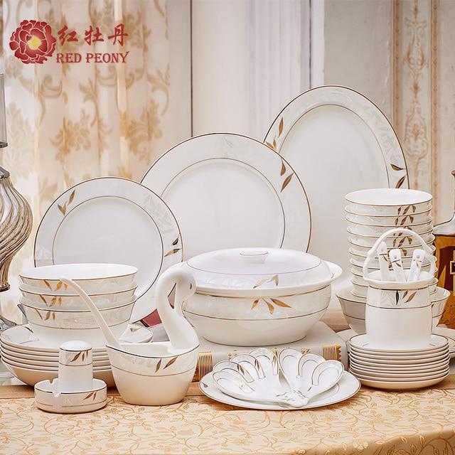 Red peony bone china tableware set 56 European dishes head Phnom Penh high-grade household & Red peony bone china tableware set 56 European dishes head Phnom ...