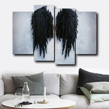 prints 4 Panel Modern Angel Wings Feather Wall Art Canvas Prints Paintings On The Wall Picture For Living Room Decor Poster And Prints