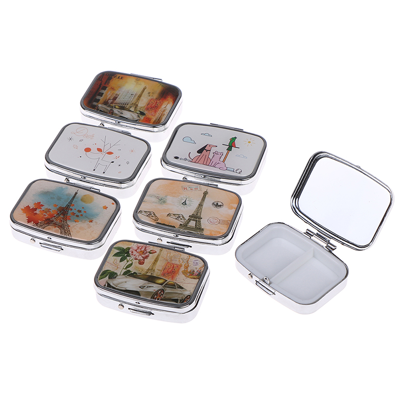 Portable Two Grid Compartment Pill Box Organizer for Travel for Safe Storage of Pills 2