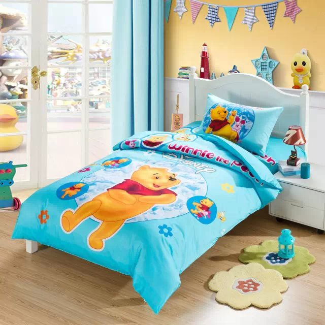 sweet winnie the pooh cartoon comforter bedding set single ...