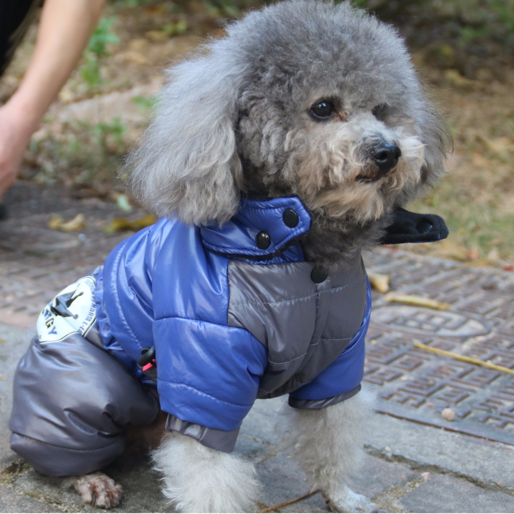 Lovoyager pet clothing dog clothes with four legs winter dog coat jacket with hood small dog jumpsuits blue/red chihuahua