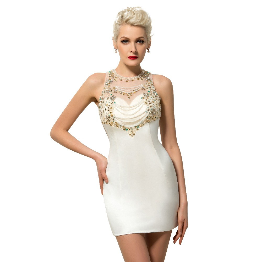 White Cocktail Dress Charming Short Homecoming Dress 2017 Beaded ...