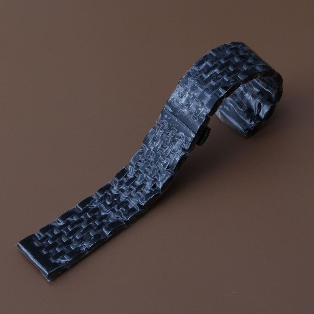 20 22 Brazalete de pulsera de acero inoxidable negro Correa de reloj Correa de enlace sólido Hebilla plegable Botón alto Hombres Reemplazo de correa de reloj