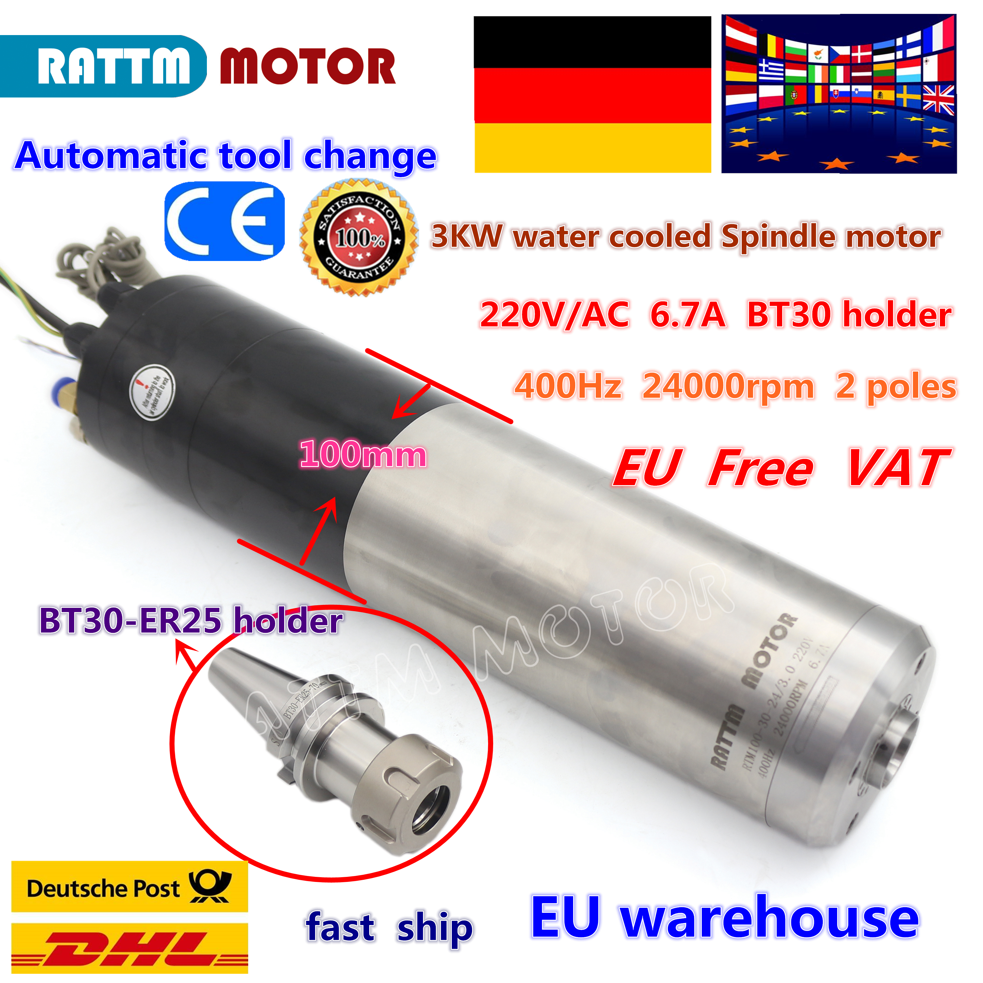 Moteur automatique DE broche DE changement d'outil DE la tva 3KW BT30 24000 t/mn 220 V/380 V refroidi à l'eau pour la Machine DE gravure DE routeur DE CNC