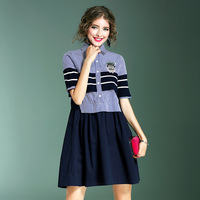 European Fashion Woman Dress Brand New 2017 Summer Women S Short Sleeve Beading Striped Patchwork Casual