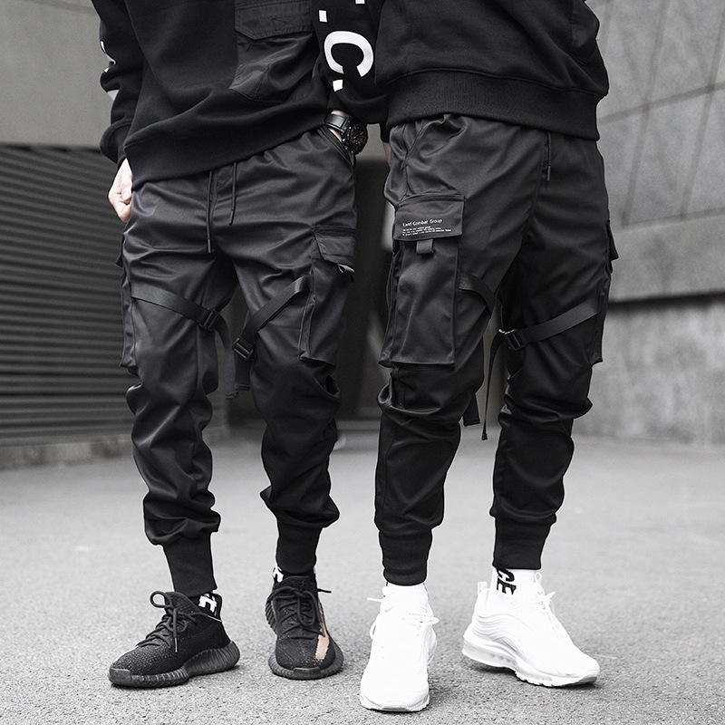 Trousers Ribbons Cargo-Pants Pocket Joggers Harajuku Color-Block Harem Hip-Hop Black