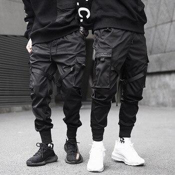 ad29b1b2 Мужские брюки карго с цветными лентами и черным карманом, 2019 шаровары,  штаны для бега Harajuku, спортивные штаны в стиле хип-хоп