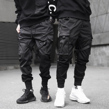 Men Ribbons Color Block Black Pocket Cargo Pants 2019 Harem
