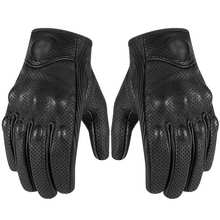 1Pair Touch Screen Retro Perforated Leather Motorcycle Gloves Cycling Moto Motorbike Protective Gears Motocross Glove Winter Man