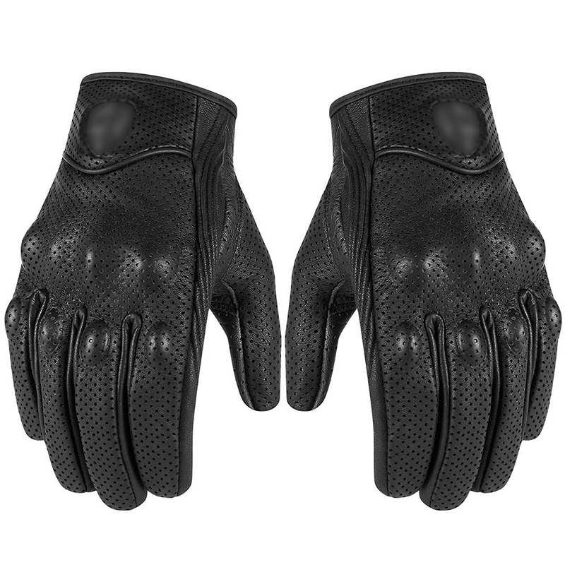 Prix pour Rétro pursuit perforé en cuir véritable moto gants moto coupe-vent chaud gants de moto de protection gears motocross