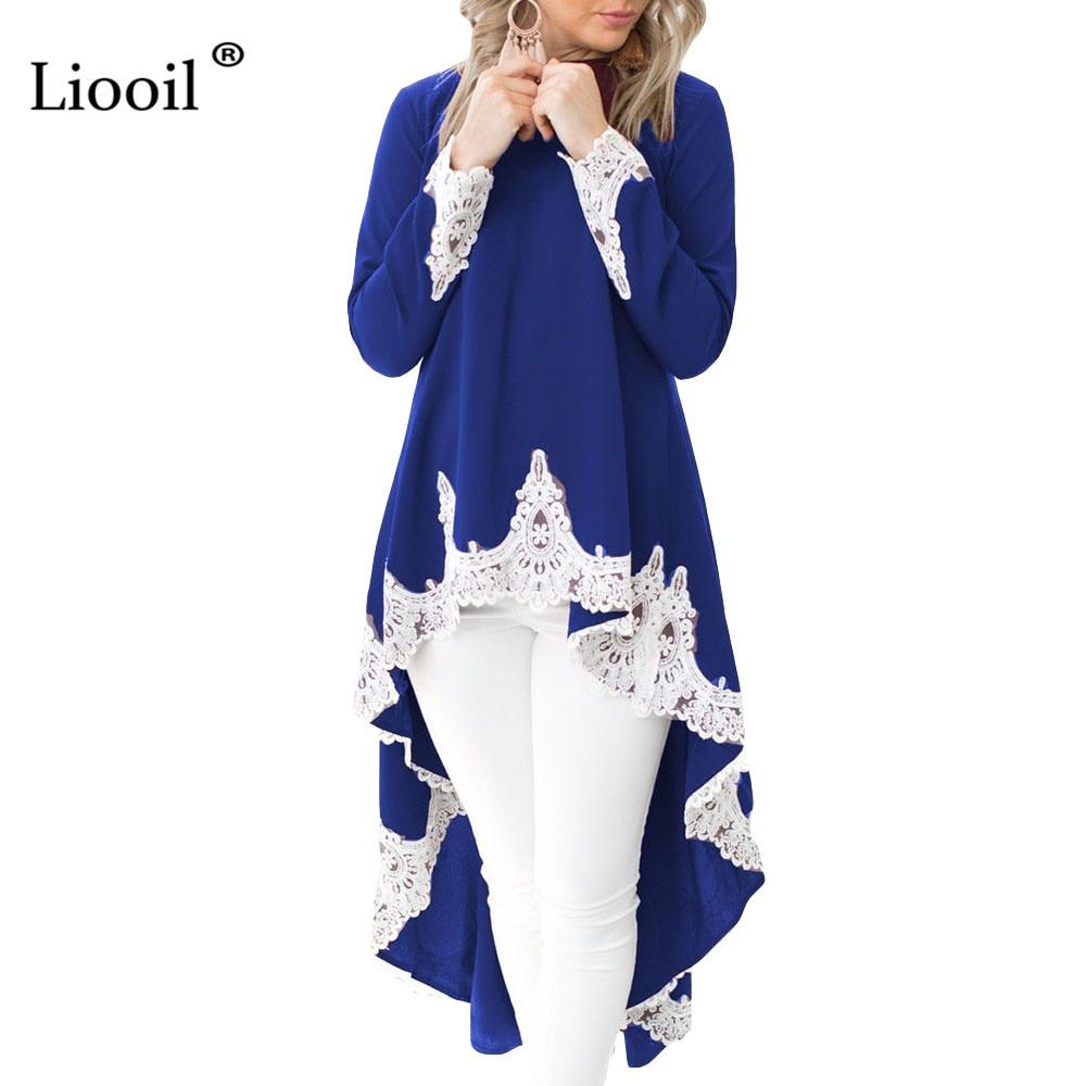 Liooil Sexy Women Lace Patchwork High Low Hem Maxi Dress 2019 Spring O Neck Asymmetrical Black Dress Women Party Long Dresses