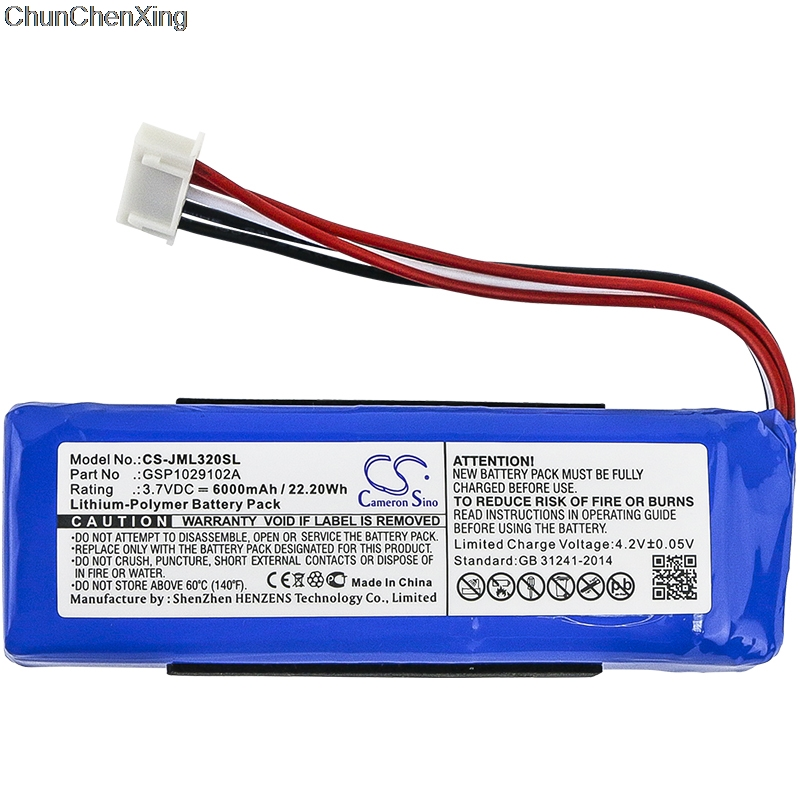купить батарею gsp1029102a - Cameron Sino 6000mAh Battery GSP1029102A for JBL Charge 3 2016, please double check the place of 2 red wires on your old battery