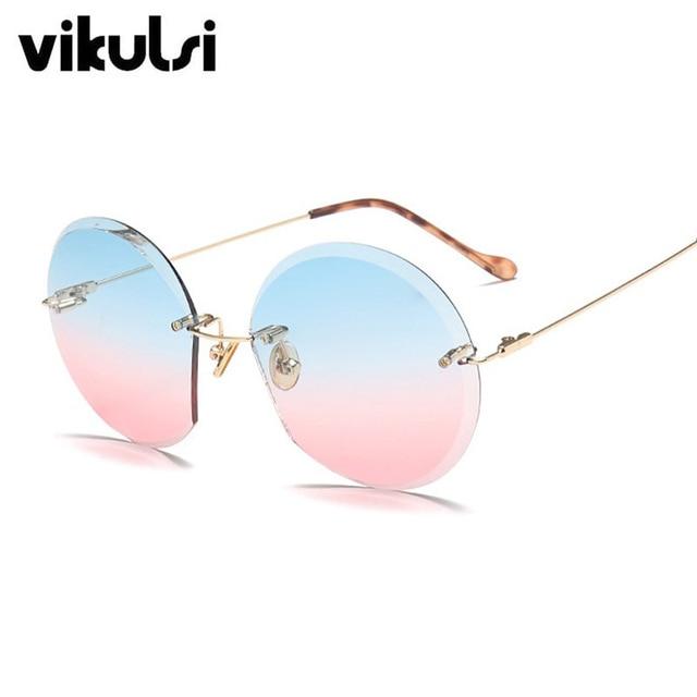 bc63b23dee44d Haute Qualité Transparent Rond lunettes de Soleil Sans Monture Femmes  Vintage Lunettes de Soleil Lady Hommes