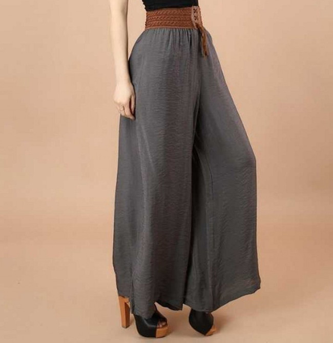 Women 39 s Stretchy Casual Pants Solid Color Belted High Waisted Straight Leg Long Pants for beach Holiday ouc482 in Pants amp Capris from Women 39 s Clothing
