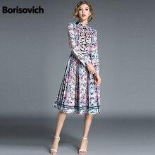 9598261f2b Borisovich nueva marca 2018 Otoño de moda de estilo Folk Vintage Collar  elegante falda de las mujeres