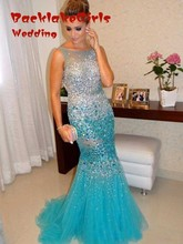 luxurious turquoise lengthy night costume 2017 backless mermaid crystal beaded sequin tulle girls formal robe for promenade social gathering