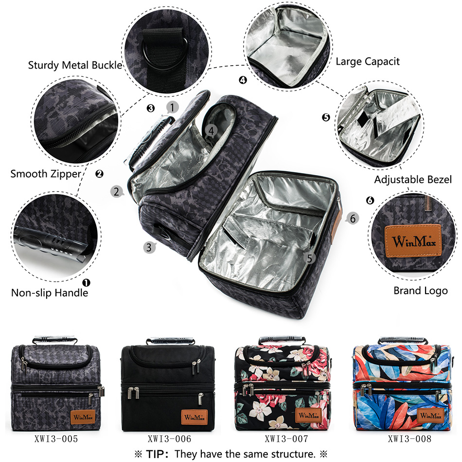Winmax New Large Thicken Lunch box Insulated Thermal Food Fresh Keep Tote Handbag Icepack Men Women Wine Travel Cooler Lunch Bag