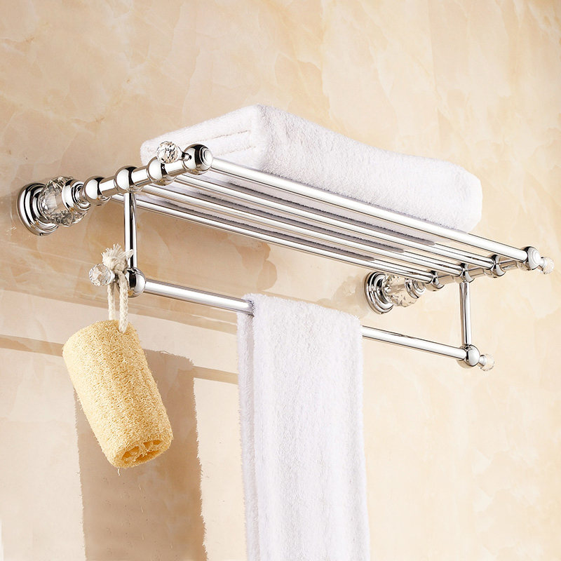 Anqtiue Polished Brass Towel Holder Silver Towel Bar Towel Rack 2-Layer White Crystal Bathroom Accessories Bathroom Products SJ2 antique crystal golden towel rack polished copper towel holder bathroom shelf bathroom accessories products