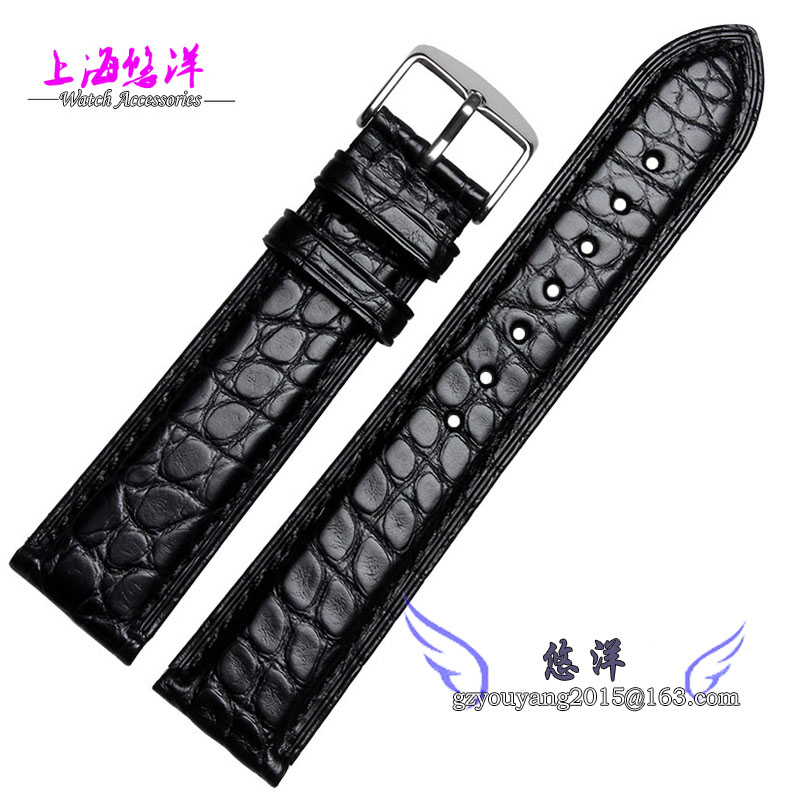 ФОТО 18mm 19mm 20mm 21mm 22mm black alligator leather watchband is available for men and women watch