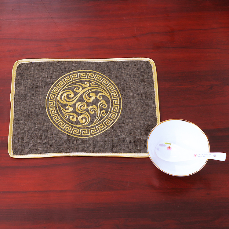 Rectangle Cotton Linen Fine Embroidery Cloud Placemat for Dining Table Mat Chinese style Coffee Tea Pad Pallet Mats 30 x 22cm