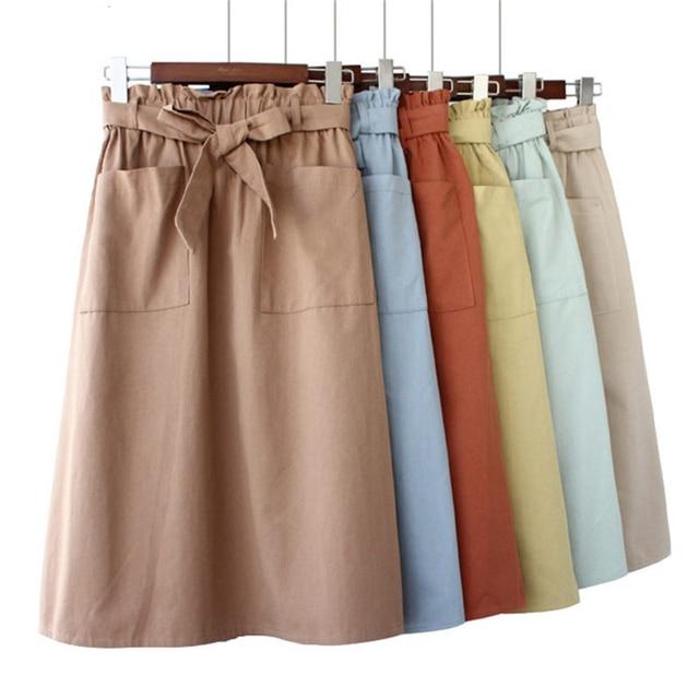 be96fd6c41b4 Cotton Skirts Womens 2019 Fashion Elastic Waist Two Pockets Ruched A Line  Falda Female Casual High Waist A-Line Bow Midi Skirt