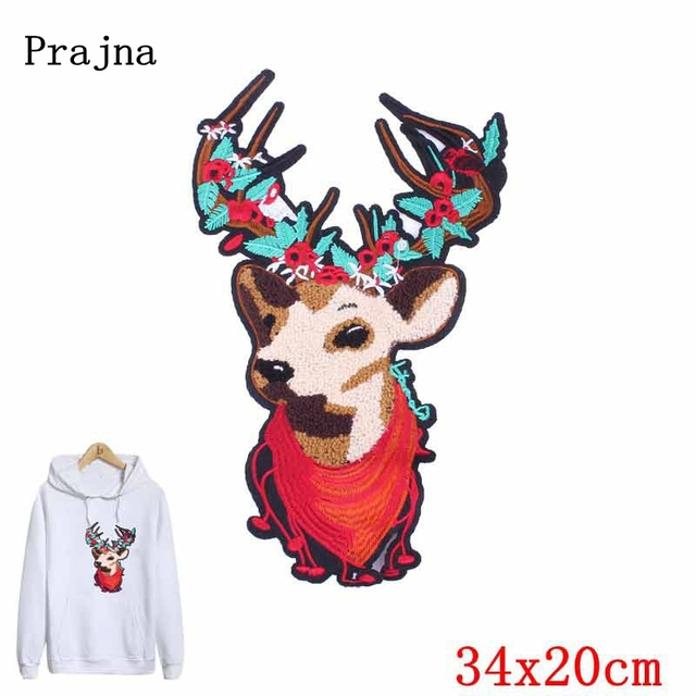 prajna christmas deer decoration sew on towel patches new year decor appliques accessory diy cartoon holiday - Christmas Deer Decor