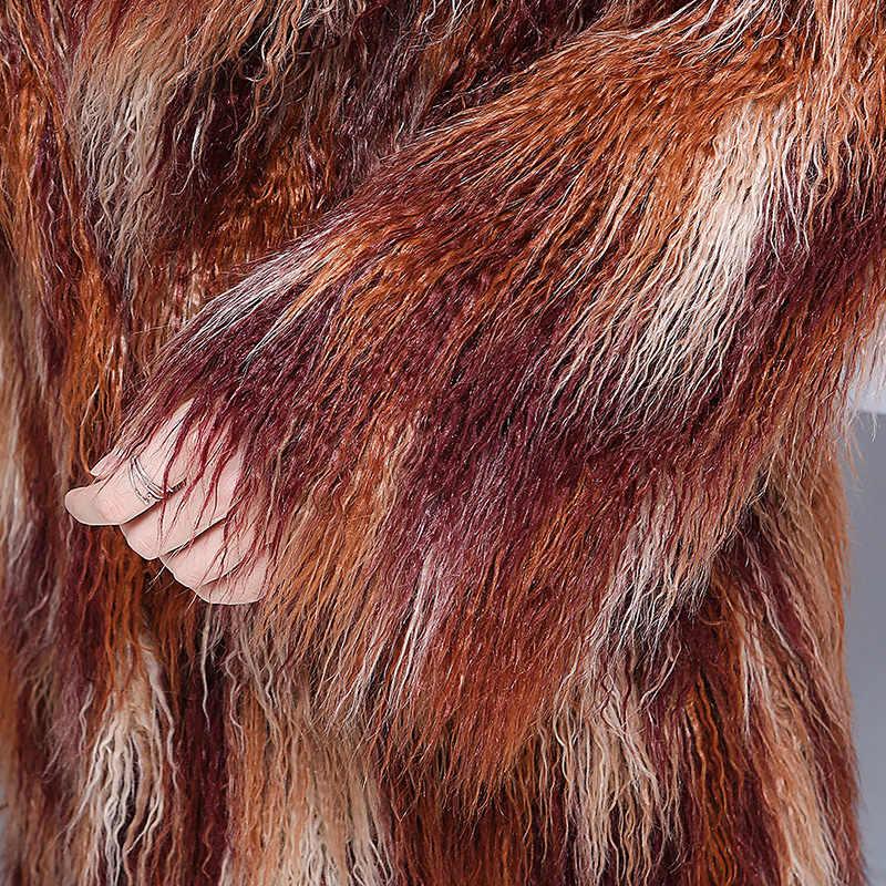 Nerazzurri 冬のフェイクファーのコート女性 2019 エクストラロングカラフルなシャギー毛深いマキシプラスサイズモンゴルの羊の毛皮オーバーコート 5xl 6XL