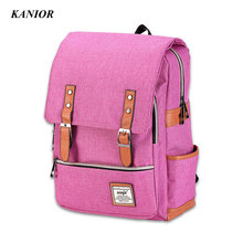 Мода элегантный дизайн женские рюкзаки высокое качество холст школьный рюкзак Твердые студенческие женские сумки женские Back Pack
