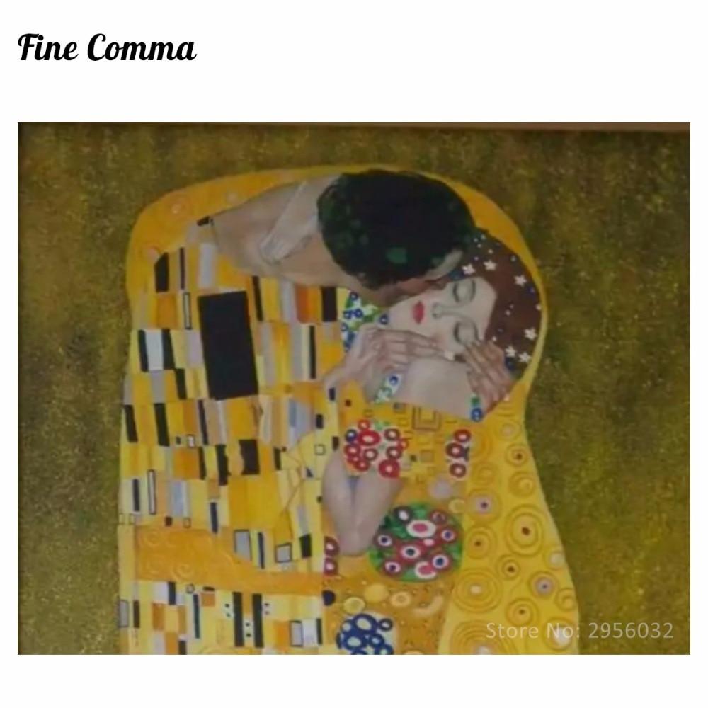 Poljub (ljubimci) avtorja Gustav Klimt slikarstvo na platnu stenske - Dekor za dom - Fotografija 4