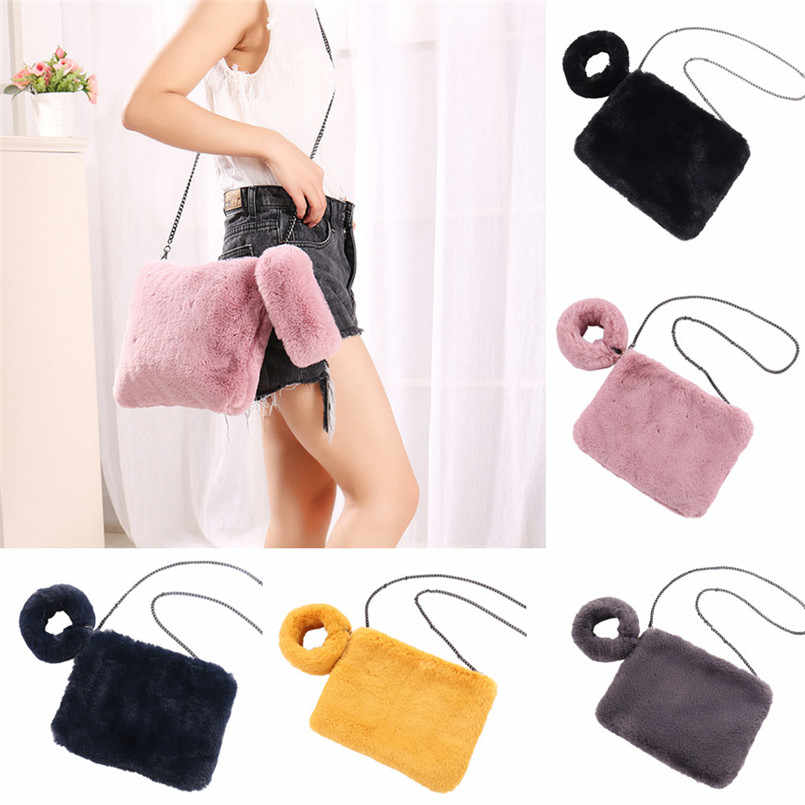 96cc81d0b9d8 ... Winter Soft Faux Fur Bag Women Fur Tote Bag Warm Plush Handbag Women  Plush Wool Bag