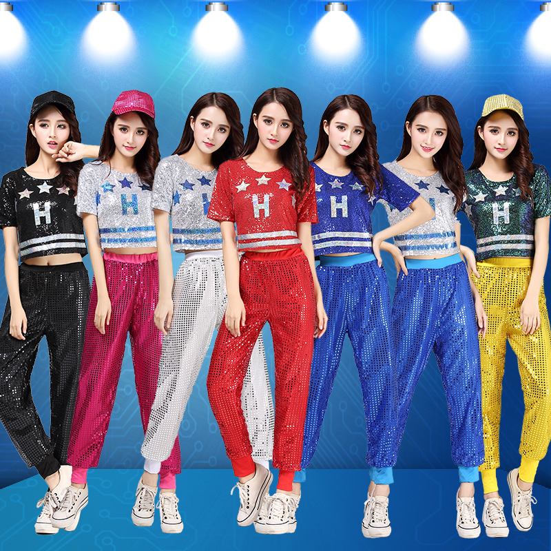 New Jazz Dance Costume DS Female Adult Tops And Pants Cheerleading Costume Modern Dance Hip-hop Sequins Dance Clothes