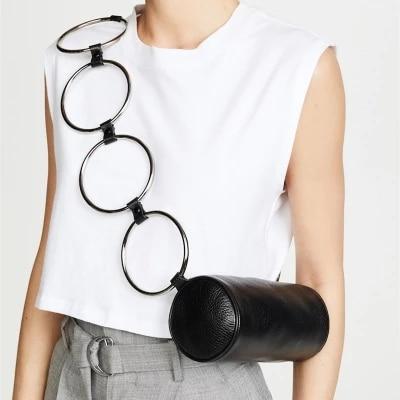 Fashion Circular Scrub Litchi PU Leather Retro Metal Ring Handbag Small Round Shoulder Bag Women Mini Circle Bag Wholesale