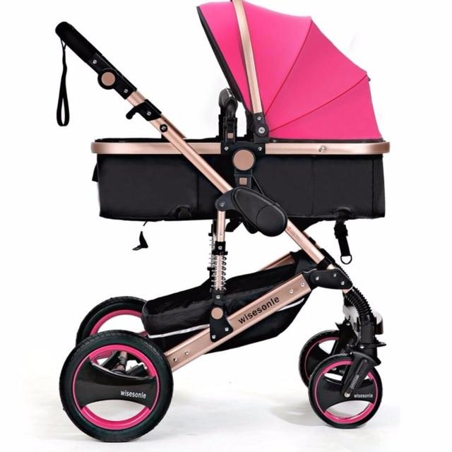 l 39 ue marque b b poussette b b de voiture lumi re suspension pliage poussette dans quatre roues. Black Bedroom Furniture Sets. Home Design Ideas