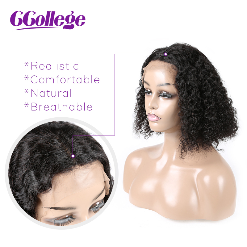 CCollege Kinky Curly Lace Front Human Hair Wigs With Baby Hair For Black Women Remy Brazilian