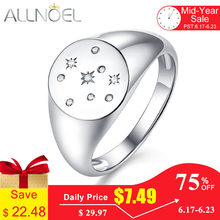 ALLNOEL 100% 925 Sterling Silver Ring For Women Created Handmade Zircon Diamond Gemstone Seal Stamp Gold Rings Jewelry 2019 New(China)