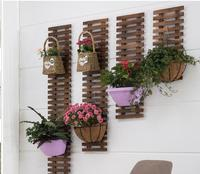 Solid wood wall hanging flower shelf wall balcony decoration wall antiseptic wood hanging flower pot stand hanging basket climbi