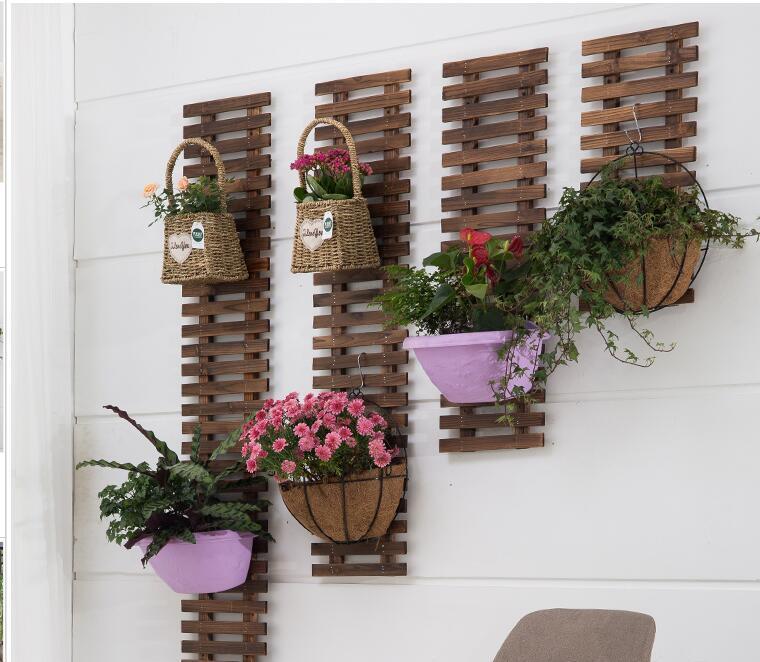Solid Wood Wall Hanging Flower Shelf Wall Balcony
