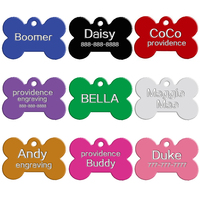 Wholesale Aluminum Dog ID Tags Bone Shape Custom Engraved Dog Cat Pet Name Phone Number ID Tag Collar Accessories Personalized