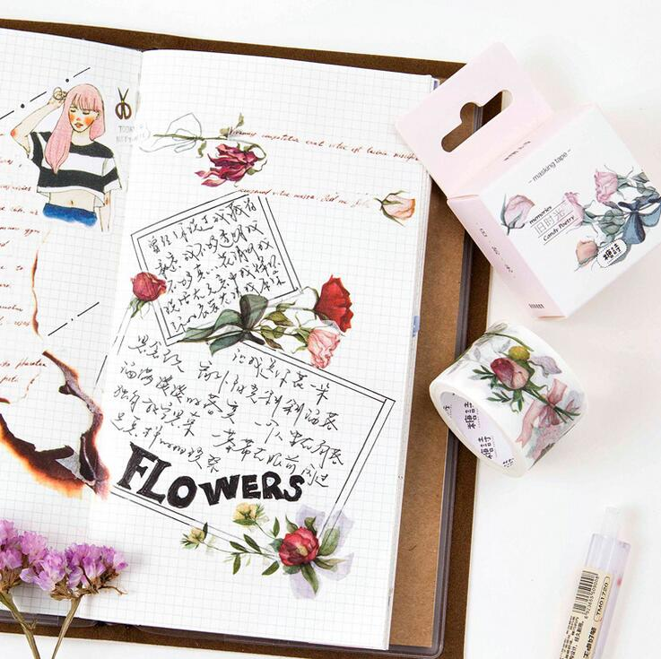 Old Time Rose Flowers  Washi Tape DIY Scrapbooking Sticker Label Masking Tape School Office Supply
