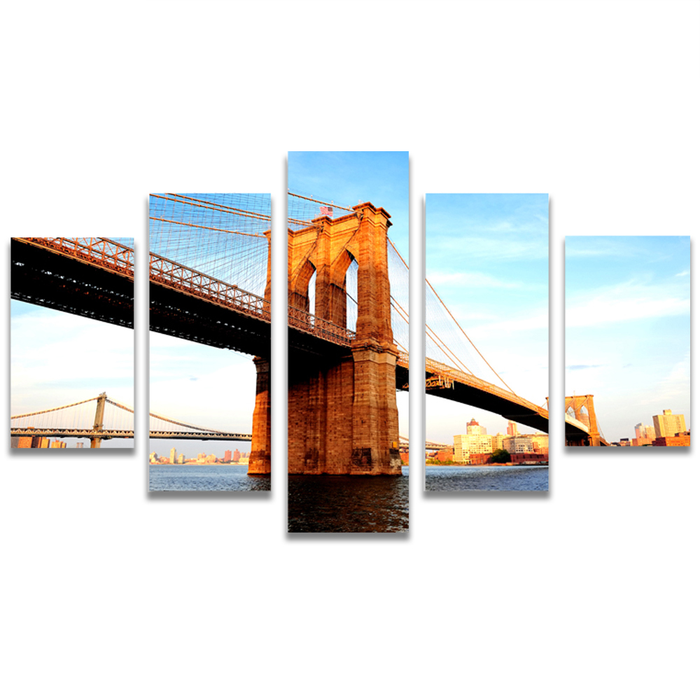 Unframed Canvas Painting river Bridge Photo Picture Prints Wall Picture For Living Room Wall Art Decoration Dropshipping