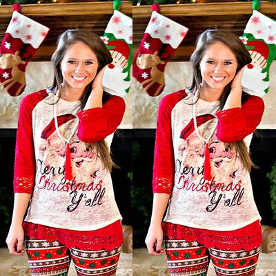 Xmas Merry Christmas Yall Burnout Santa Red Lace Long Sleeves Cotton Shirt Top