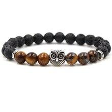 8MM Black Lava Stone Tiger's Eye Beads Owl Charms Essential Oil Diffuser Bracelet Balance Yoga Pulseira Feminina Buddha Jewelry