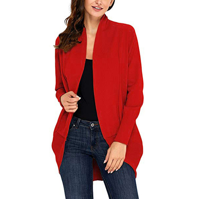 Womens Open Front Fly Away Cardigan Sweater Long Sleeve Plus Pockets Simple  design Loose Drape d4ad97868