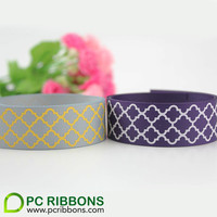 Free shipping 25mm 100 yards spring arrival metal grey color quatrefoil printed grosgrain ribbon party decoration