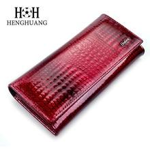 Brand Women alligator Genuine Leather Wallet Multifunction Blocking Cowhide Card Holder Clutch Ladies Patent Purse Long