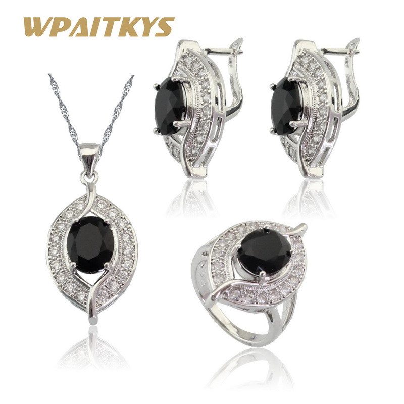 Black Cubic Zirconia White CZ Jewelry Sets For Women Silver Color Earrings Ring Pendant Necklace Gift Free Box WPAITKYS wpaitkys trendy white opal 925 silver jewelry sets women s wedding necklace earrings ring bracelet free box