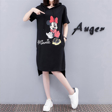 2019 Women Mickey Mouse Minnie Summer Dresses Fashion Hooded Loose Casual Black Plus Size Dress M-4XL With Pocket цены