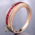 Three Row Ruby Diamond Wedding Band About 1cttw Natural Ruby Gemstone Ring Elegant 18K Rose Gold Beauty Engagement Wedding Ring